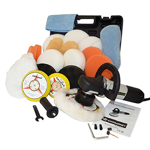 Kingbarney XL Profiset - Exzenter Poliermaschine / Polierer inkl. Koffer 710 Watt Set 2 + Polierschwamm Zubeh�rset - 26 Teile - Schleifmaschine - Auto polieren