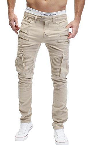 MERISH Herren Bikerchino Jeanshose Denim Chino Zipper BeintaschenTrend Jeans Hose Neu J2055 Beige W34