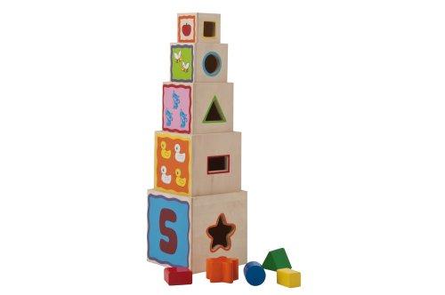 Eichhorn 100002085 - Steckw�rfel-Steckturm - 10 teilig - 5 W�rfel zum Stapeln - mit 5 Steckteilen - 47cm