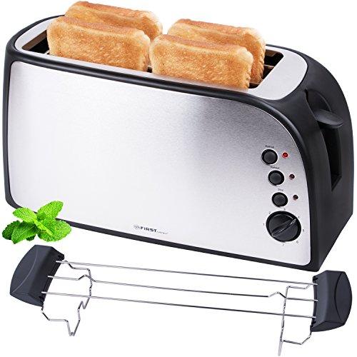 Edelstahl 4 Scheiben Toaster 1500 Watt mit Kr�melschublade Sandwich Langschlitz / abnembarer Br�tchenaufsatz / doppelt isoliertes Geh�use, stufenlose Temperatureinstellung