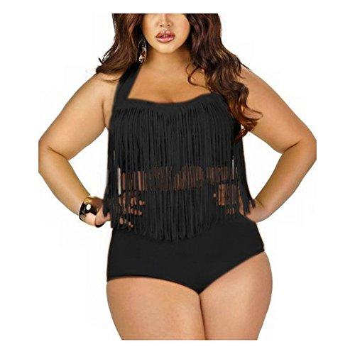 Moin Sexy Frauen Plus Size Retro hohe Taille Geflochtene Fringe Top Bikini Neckholder Bademode Badeanzug Swimwear Farbe Schwarz Gr��e XXXL