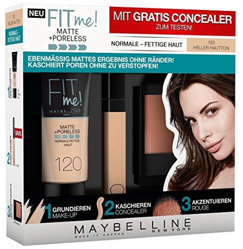 Maybelline New York Set Matt und Poreless Make-Up 120, Master Heat Blush 10, 1er Pack (1 x 3 St�ck) classic ivory
