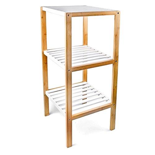 Relaxdays Bambus Regal mit 3 F�chern HBT: 80 x 33 x 34 cm Schickes Badregal mit 3 Ablagen aus nat�rlichem Holz Standregal als K�chenregal oder Holzregal zur Aufbewahrung im Badezimmer, wei�, natur