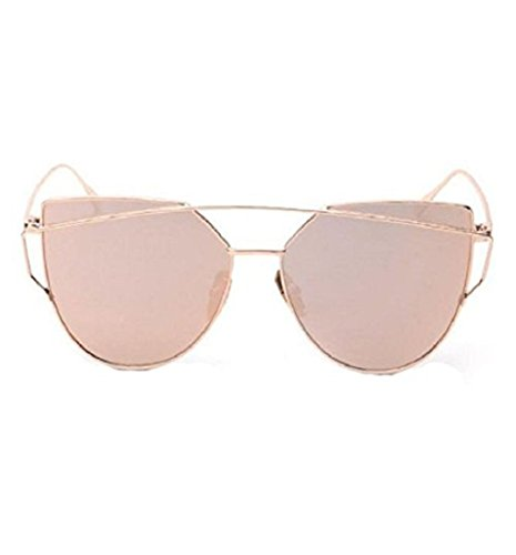 Yistu Twin-Tr�ger klassische Frauen Metallrahmen Spiegel Sonnenbrille Cat Eye Brillenmode (Rose Gold)
