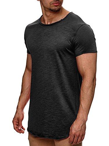 S!RPREME Herren T-Shirt Kurzarm Basic Longshirt Oversize Slim Fit Dunkelgrau Anthrazit S