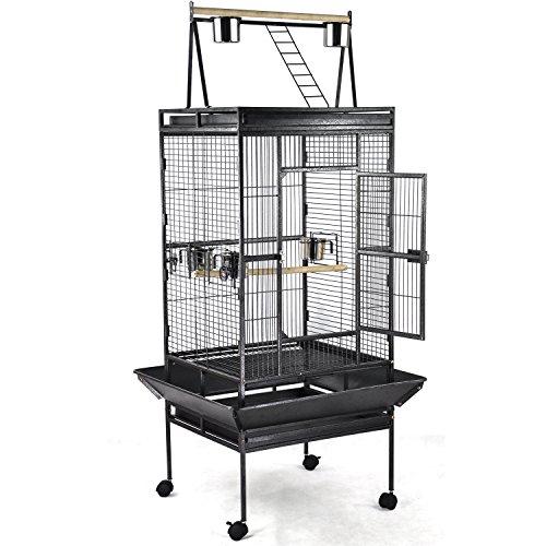 Yahee Vogelvoliere Vogelk�fig Vogelbauer mit 4 Rollen,5 Sch�ssel und 2 Holzsitzstangen, 79 x 75 x 173cm