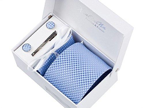 Herren Krawatten set mit ManschettenKn�pfe, Einstecktuch und Krawatte Bar Geschenk Set (blau gewebt)