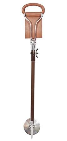 Stehhilfe aus Leder f�r den Golfsport, mit zwei Aufs�tzen f�r unterschiedliche Untergr�nde, Braun Die Bodenplatte kann am Griff der Stehhilfe montiert werden