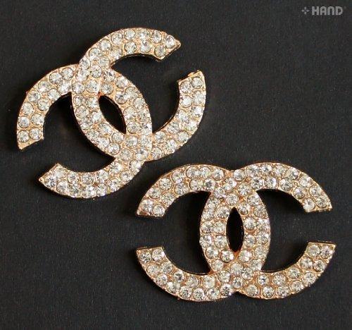 HAND � BR35 Sch�ne elegante Clear Crystal Gold-Brosche - Packung mit 2