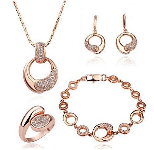 Kola - Schmuckset 18K Plattiert Damen Halskette Ohrringe Ring Armband(Rosegold-plated)