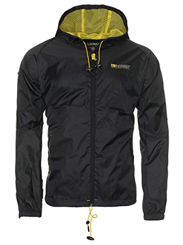 Geographical Norway Herren Regen Jacke �bergangs Windbreaker Outdoor Regenjacke [GeNo-18-Schwarz-Gr.S]