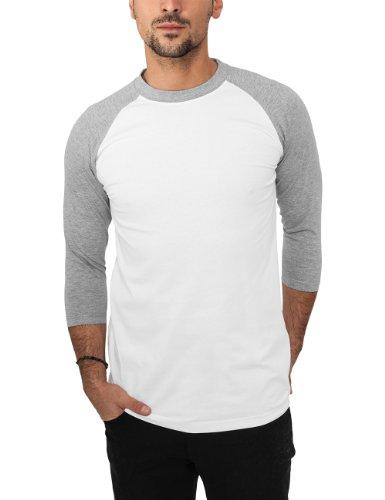Urban Classics Herren Langarmshirt Bekleidung T-Shirt mehrfarbig (Wht/gry) Medium