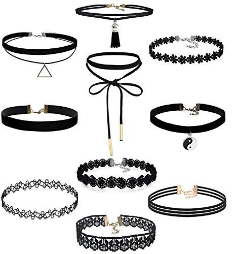 Yidarton 10 St�ck Choker Halsketten Set Velvet Halskette Tattoo Halsband, Schwarz