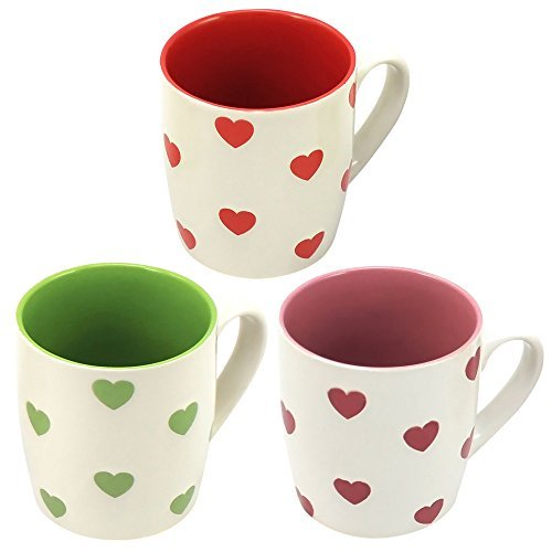 COM-FOUR� 3x Kaffeebecher mit Herzen, Au�enfarbe wei�, Innenfarben rot, pink, gr�n (3er Set Herzen rot/pink/gr�n) by COM-FOUR