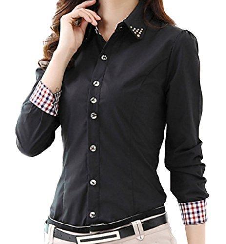 Damen Figurbetont Business Hemden Shirt Tops Strass Kragen Langarm Blusen Schwarz DE L (Asiatisch 3XL)