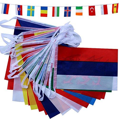 TOAOB European 24 Nationen 28x20cm Flaggen Fahnenkette Girlande L�nge ca. 8m