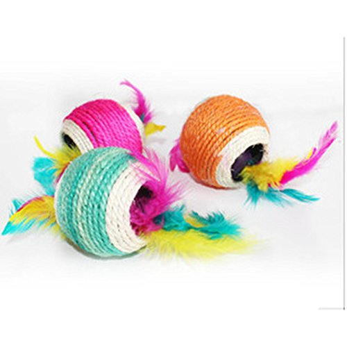 Healthy Clubs Haustier-Spielzeug, Sisalseil-Ball mit Loch, zum Spielen/Kratzen/Kauen, Spielzeug f�r Katze/Hund/Haustier