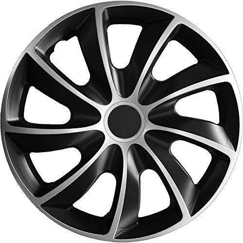 (Farbe und Gr��e w�hlbar) 16 Zoll Radkappen QUAD Bicolor (Schwarz-Silber) passend f�r fast alle Fahrzeugtypen - universell