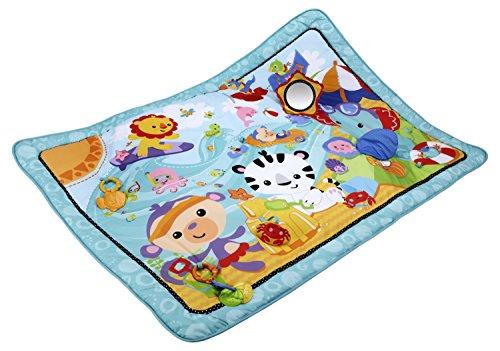 Fisher-Price CBJ65 Gro�e Spiel- und Krabbeldecke mit Tiermotiven und Babyspielzeug, 1 x 1.50 m, blau