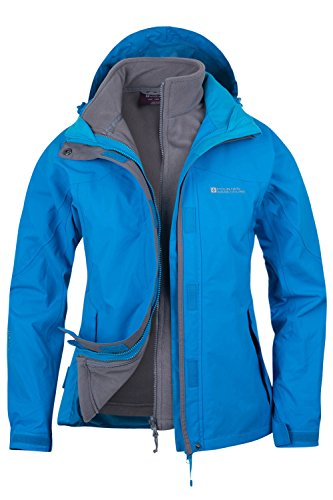Mountain Warehouse Damen Storm 3 In 1 Wasserdichte Regenjacke Fleece Mantel Jacke Neu Multifunktionsjacke Regenjacke T�rkis DE 36 (EU 38)