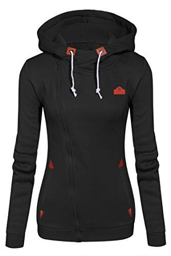 CRAVOG Damen Hoodie Sweatshirt Full Zip-up Damen Oberteil Casual Tops