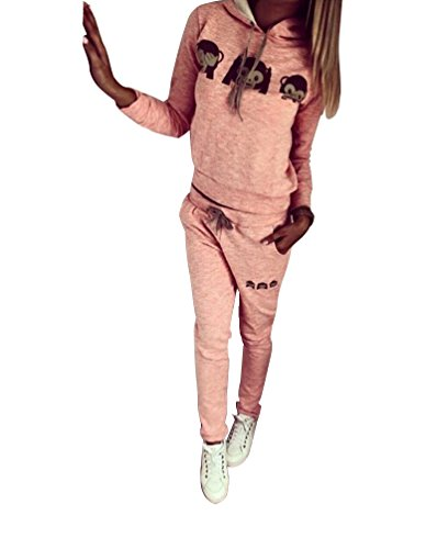 Baymate Damen Trainingsanzug Affe Muster Drucken Hoodie Sweatshirt Anzug mit Hose 2pcs Rosa S