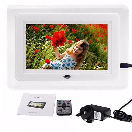 INSMA 7 ''LCD Fernbedienung Digitaler Bilderrahmen HD Bilderrahmen geeignet f�rJPEG, AVI, MPEG-4, MP3, MPG Mit Handbuch Vatertags Geschenk Weiss