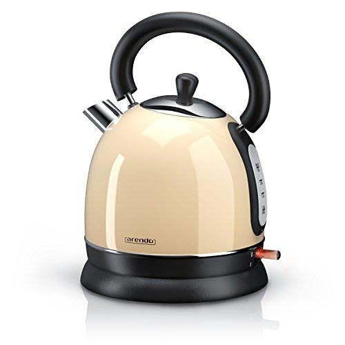 Arendo - 3000 Watt Retro Edelstahl Wasserkocher / Teekessel | 3000 Watt Leistungsaufnahme (Schnellkoch-Wasserkocher) | integrierter Kalkfilter rausnehmbar | F�llmenge maximal 1,8 Liter | automatische Abschaltung | in Creme
