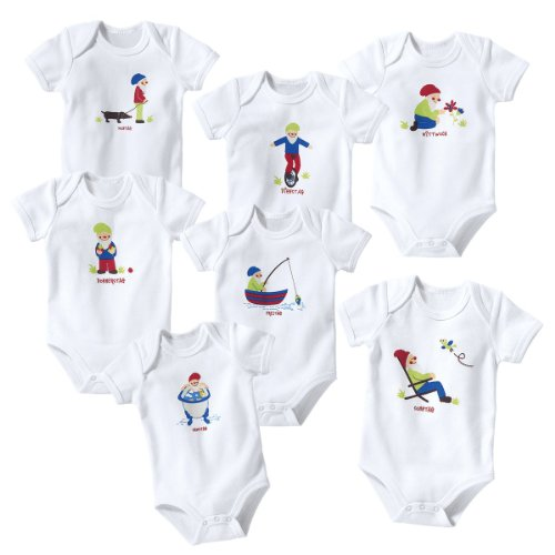 BORNINO 7er-Pack Bodys kurzarm Baby, Gr��e 98/104, wei�