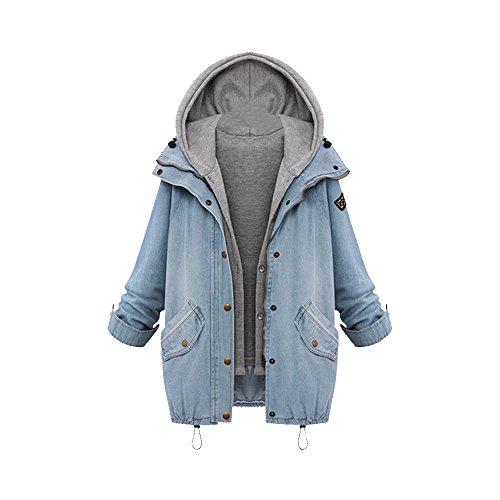 Damen �bergangsjacke Blazer Jeansjacke Parka Deinm Jeans Freizeitjacke Herbst Schick Langarmshirt Asien 4XL-EU L+(EU 44)