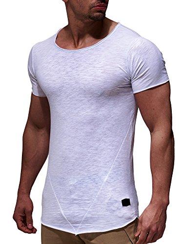 LEIF NELSON Herren oversize T-Shirt Rundhals Basic Shirt LN6281; Gr?�e M, Weiss