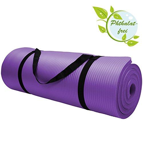 Yoga-Matte in vielen verschiedenen Gr��en und Farben rutschfest phthalatfrei f�r Gymnastik Turnen Pilates extra dick, Farbe:Vivid Violet;Ma�e:200 x 80 x 1.5 cm