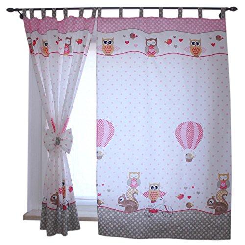 2er Set Gardinen Kinderzimmer Vorh�nge mit Schlaufen und Schleifen 155x95 cm Dekoschal Schlaufenschal , Farbe: Eulen 2 Rosa, Gr��e: ca. 155x95 cm