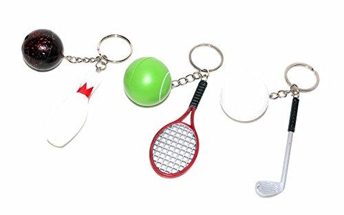 6 stk. Schl�sselanh�nger Schl�sselring Bowling Kegeln Tennis Golf Ballsport Sport Kult NEU