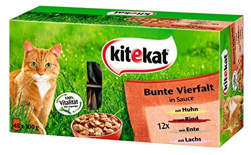 Kitekat Katzenfutter Bunte Vierfalt, 48 Beutel (1 x 48 x 100 g)