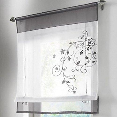 Souarts Grau Stickblume Gardine Raffgardinen Vorhang Raffrollo Schlaufenschal Deko f�r Wohnzimmer Schlafzimmer Studierzimmer 60*120cm