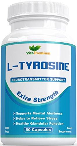 L - Tyrosin Extra Stark, Aminos�ure, 50 Veg Kapseln - Leistungsstarker Stimmungsverbesserer und Energie-Booster - Hilft Stress Abzubauen, Verbessert die Mentale Leistung und die Intellektuellen F�higkeiten - F�hlen Sie den Unterschied Oder Erhalten Sie Ihr Geld Zur�ck