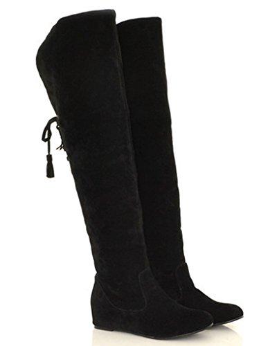 Minetom Damen Winter Warm Schnee Hohe Stiefel Pelzstiefel Flache Schuhe Overknee Stiefel Schwarz 38