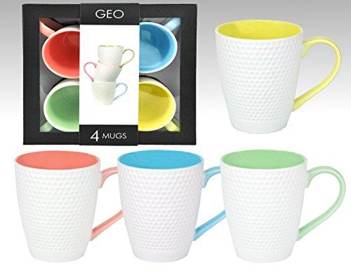 4 tlg. Tassen / Becher-Set f�r 4 Personen mit h�bschen Sechseck-Reliefmustern und 4 verschiedene Innenfarben