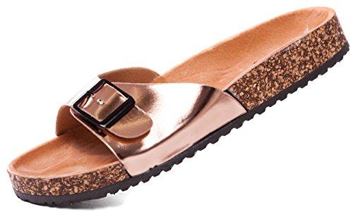 Bio Tieffu�bettpantoletten Pantoletten Sandalen Comfort Slipper, Damen 0001025 (38, Rosegold)