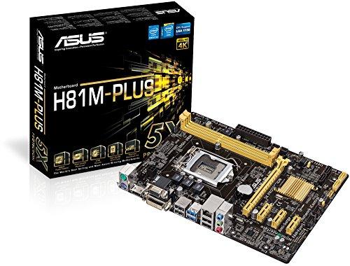 Asus H81M-PLUS Mainboard Sockel LGA 1150 (ATX, Intel H81, 2x DDR3 Speicher, 2x SATA III, VGA, DVI-D, HDMI, 2x USB 3.0)