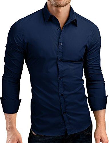 Grin&Bear Slim fit Herren Hemd SH500 navy Gr��e L
