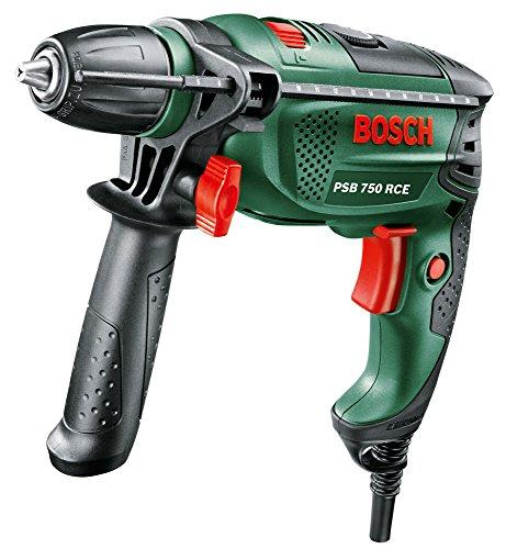 Bosch DIY Schlagbohrmaschine PSB 750 RCE, Tiefenanschlag, Zusatzhandgriff, Koffer (750 Watt, max. Bohr-�: Holz: 30 mm, Beton: 14 mm)