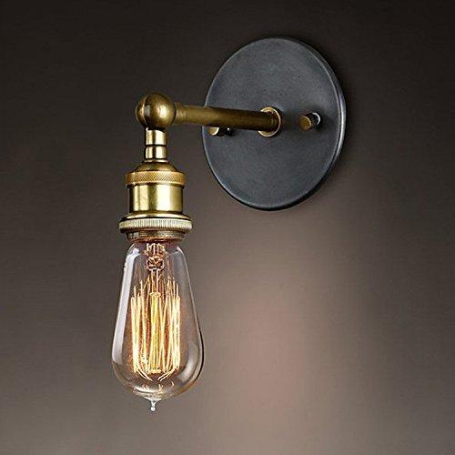 Splink Wandlampe Wandleuchte Industrie mit Einstellbar Messing-Kopf, Vintage Retro Caf� Loft Bar Flurlampe(Ohne Lampe)