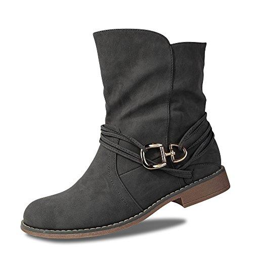 Damen Schlupfstiefel Stiefeletten Stiefel Boots leicht gef�ttert ST535 (40, Grau)