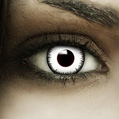 """Farbige Kontaktlinsen """"Vampir"""" + Kunstblut Kapseln + Beh�lter von FXContacts in wei�, weich, ohne St�rke als 2er Pack - angenehm zu tragen und perfekt zu Halloween, Karneval, Fasching oder Fasnacht"""