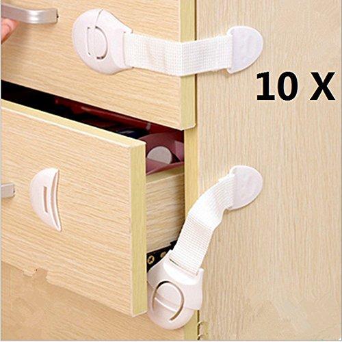 HaimoBurg 10er Pack Baby Sicherheitsschloss Schrank- und Schubladensicherung Schubladen Kleiderschrank Ecke-Schl�sserKindersicherung