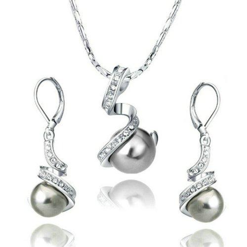 Yoursfs 18k Gold �berzogener schwarze Perle Halskette und Ohrringe Schmuck-Sets