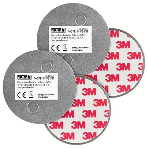 mumbi 2-er Set Magnetbefestigung f�r glatte Fl�chen, 2-Magnet-Rauchmelder-Befestigung