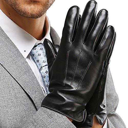 Harrms Herren Winter Handschuhe Echt Leder Touchscreen Gef�ttert mit Kaschmir Lederhandschuhe, Schwarz